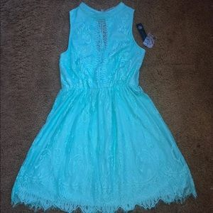New! Blue Green Casual Lace Keyhole Dress Large 13